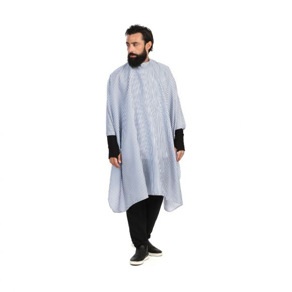 Barber cutting cape with blue stripes