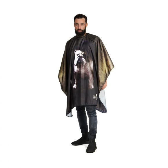 Barber cutting cape with Bull Dog print