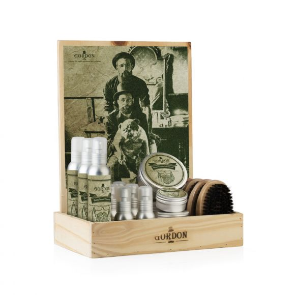 Gordon beard and moustache products display